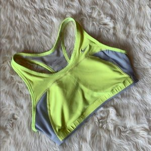 Nike yellow and grey Dri Fit sports bra size med